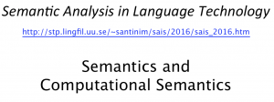 Lecture: Semantics and Computational Semantics