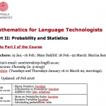 Course: Probability and Statistics for Language Technology