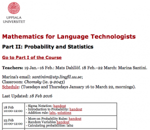 Probability and Statistics for Language Technology